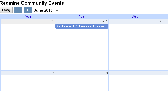 Redmine Community Calendar